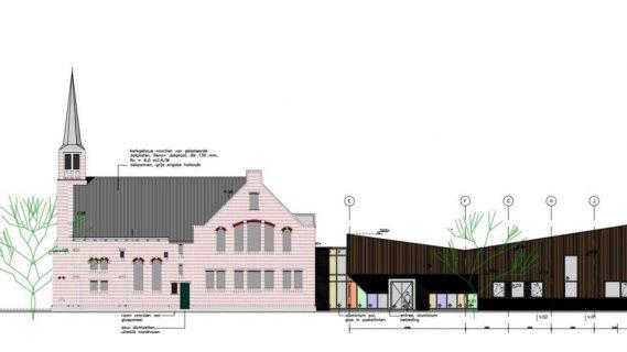 Digitale tekening van het historische kerkgebouw dat deel uitmaakt van het multifunctioneel centrum in Siddeburen.