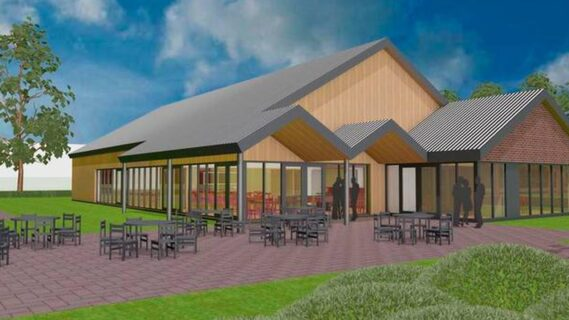 Digitale tekening van het ontwerp van de ontmoetingsplek in Froombosch.