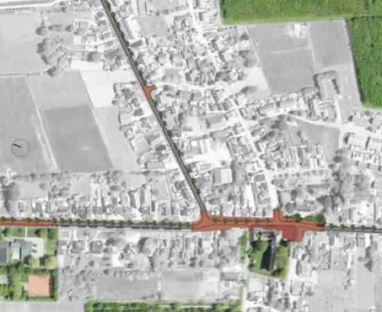 Plattegrond van de herinrichting van de Hoofdstraat in 't Zand.