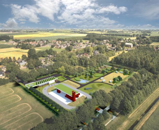 Getekende plattegrond van Landgoed De Camping, dat neergezet is op een voetbalveld in 't Zandt. Een lokaal initiatief dat gesteund is door de provincie Groningen.