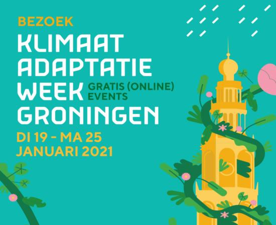 Digitale afbeelding van de klimaatadaptieweek waarin opgeroepen wordt om gratis (online) events te bezoeken van 19 tot 25 januari 2021