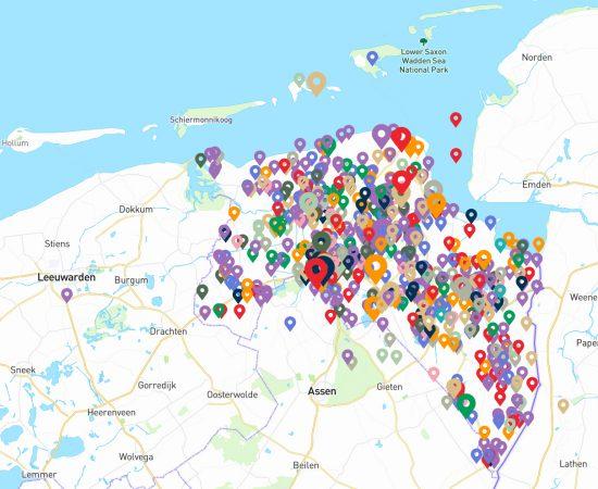 Kaart van Noord-Nederland met locatie-pointers in de provincie Groningen die aangeven waar een project plaatsvindt.
