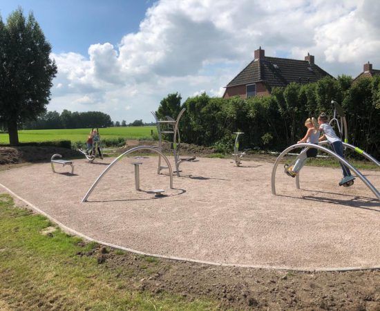 Kinderen doen oefeningen op de apparaten in het beweegpark van Leermens