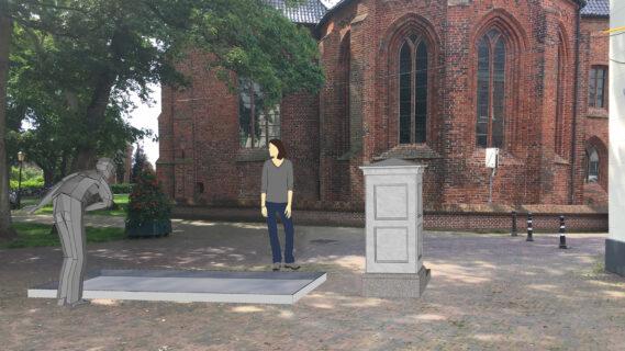 Foto van de Nicolaikerk in Appingedam met hierin een tekening waar de regenwaterbak zich bevindt