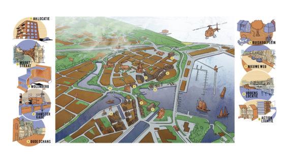 Plattegrond van de gebiedsontwikkeling in Delfzijl Centrum Zuidoost