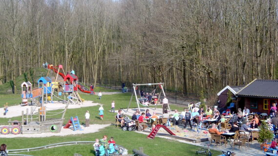 Decoratieve afbeelding van kinderen die in een speeltuin aan het spelen zijn