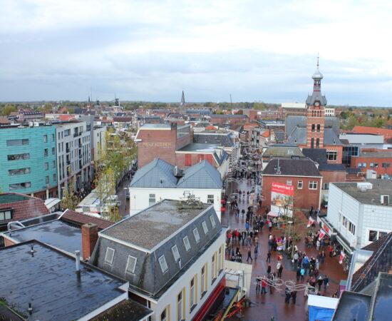 Decoratieve afbeelding van het bovenaanzicht van het centrum van Winschoten