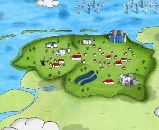 Decoratieve tekening van de drie noordelijke provincies waarin waterstoftanks verdeeld staan.