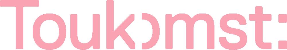 Het logo van Toukomst in de kleur lichtroze