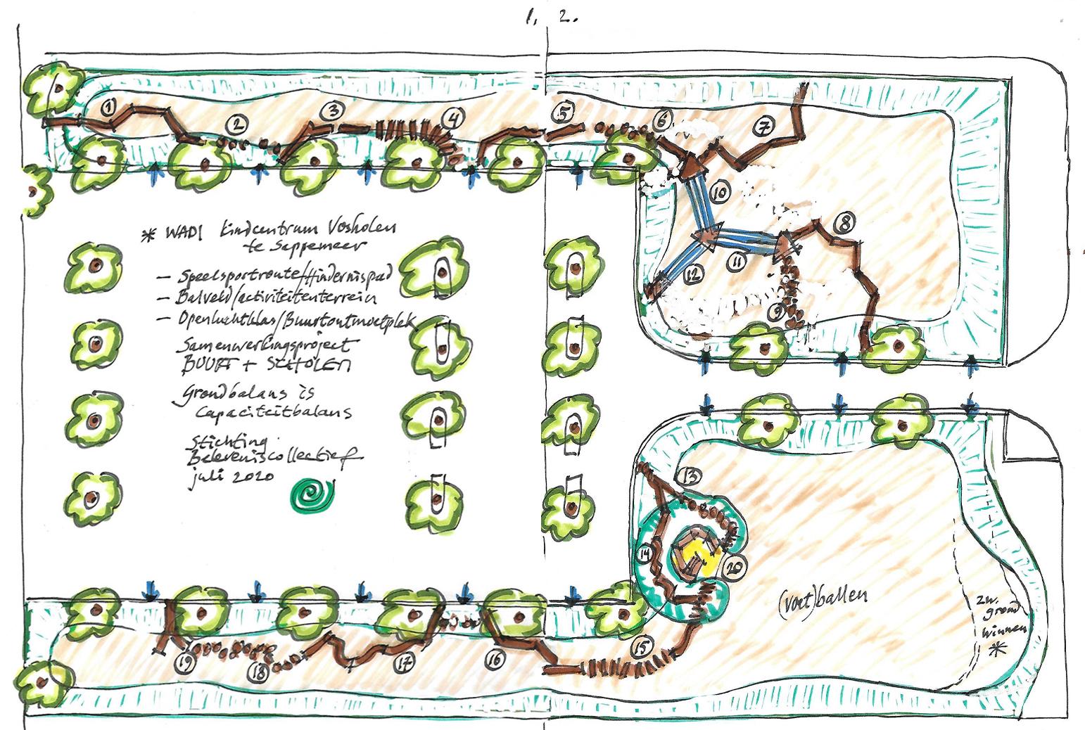 Getekende plattegrond van de wadi bij kindcentrum Voshoven