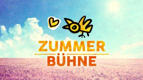 Decoratieve afbeelding met de tekst Zummerbühne en een getekend vogeltje