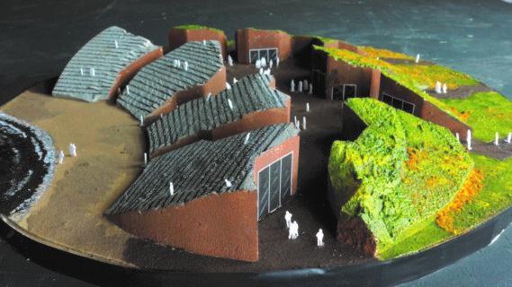 Een maquette van hoe het openluchttheater De Barst er uit kan zien