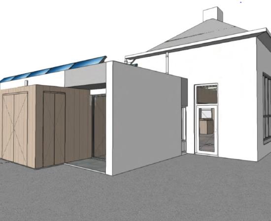 Tekening van de buitenkant van de plannen van het nieuwe dorpshuis in Ezinge