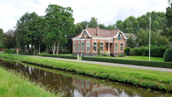 Decoratieve afbeelding van bebouwing rond het Kieldiep in Kielwindeweer
