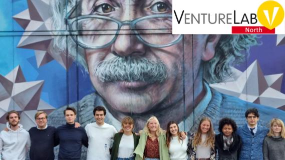Decoratieve afbeelding met de ondersteunde groep voor het gebouw van VentureLabNorth met de afbeelding van Albert Einstein